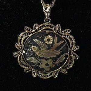 Vintage Damascene Necklace, Intricate